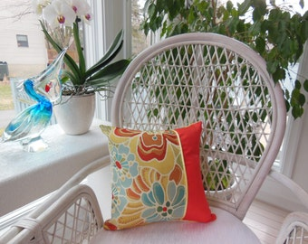 Orange Yellow Pillow - Kaleidoscope Of Flowers Collection - Tangerine Orange / Sunny Yellow Flower Designer Pillow - Reversible 15 x 15 Inch