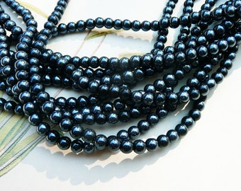 Black pearl beads, glass beads, black pearls, 4mm, 3 strands more than 240 beads