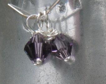 Birthstone jewelry charms, Swarovski Crystal Dangle/Drop Charms -  February Amethist - 6mm - Bicone  3 pcs