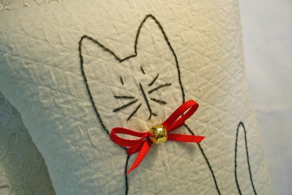 Embroidered Cat Pillow w/ Red Bow Collar and Bell/ Valentine Cat