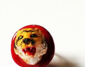Tiger Ring, Animal jewelry, tiger trophy ring, adjustable ring, wildlife red, OOAK