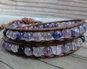 Purple Rainbow Fluorite Double Leather Wrap Beaded Bracelet