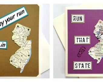 New Jersey - Enjoy Your Run, Run (or RAN) That State - Handmade Running Greeting Card for Marathon, Half-Marathon, 10K, 5K Race Runners