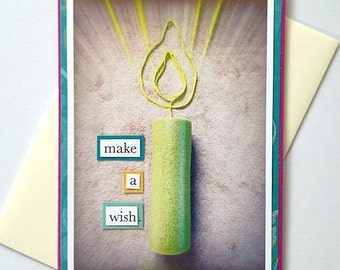 Happy Birthday Make A Wish Foam Roller Candle Handmade B-Day Greeting Card for Runners, Athletes - PURPLE Background