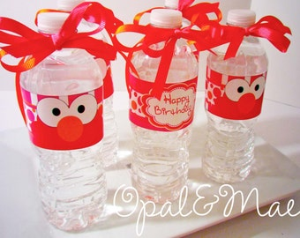 Instant Download - PRINTABLE DIY -  Monster Elmo Digital Party Birthday Drink Labels