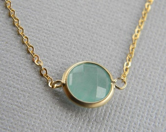 Minimalist Necklace- Layering Necklace- Gemstone Necklace- Amazonite Necklace in Gold - Bridesmaid Jewelry - Dainty Gold Necklace - Gift