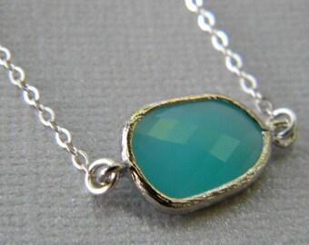 Aqua Necklace,  Sterling Silver Necklace, Aqua Asymmetrical Necklace,  Bridesmaid, Bridal,  Wedding, Layering Necklace, Minimalist Necklace