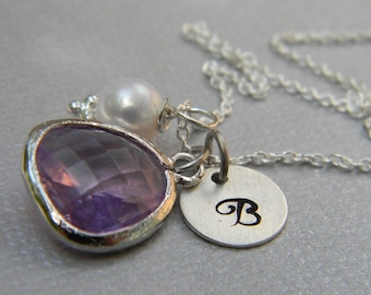 Personalized Bridesmaid Necklace Lavender and Sterling Silver -Wedding- Mothers Day Gift