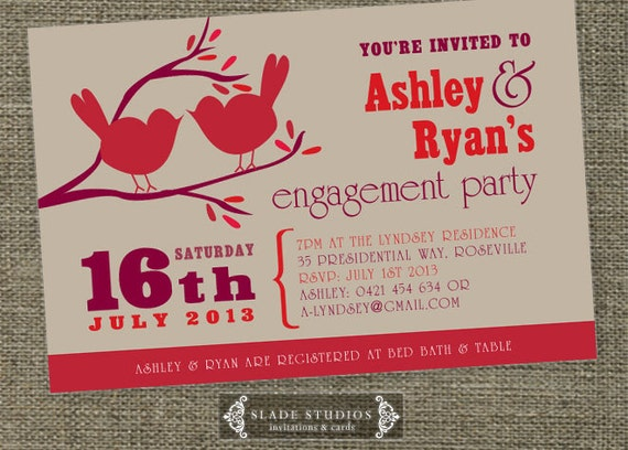 Love birds engagement party invitation unique engagement and for Etsy engagement party invites