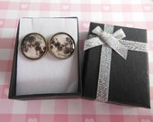 Moon Cufflinks  Colour Outer Space Planet