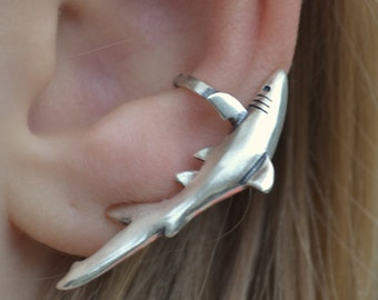 Ear Cuff - Shark - Sterling Silver - SINGLE SIDE