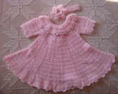 6-12 month Pink Crochet Baby Dress with Matching Flower Headband