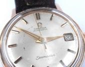 Vintage Omega Seamaster Mens Watch Timepiece 60s Logo Pink Gold Rose Gold Fine Time Piece Villa Collezione
