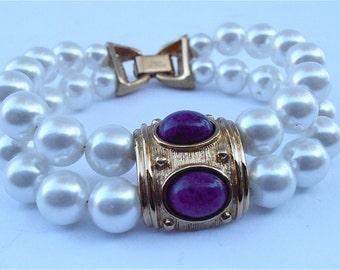 Vintage Lapis Lazuli White Pearl Bracelet Napier Bracelet Gold Double Strand Bracelet Royal Blue Bracelet Navy Blue Cabochon Bracelet