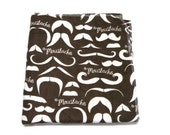 Brown Mustache Baby Blanket Large Flannel Receiving