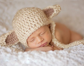 Lamb Hat  PDF Pattern/ Instructions Crochet - Newborn to Teen sizes Lil Lambie