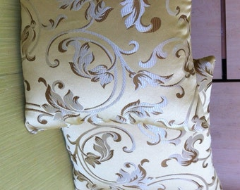 Gold  Floral Upholstery Throw Pillows Pair With Insert Included