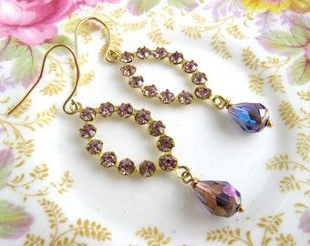 Gold purple amethyst crystal earrings,  long drops bridesmaid wedding vintage Swarovski, crystal drops, 16K gold plate