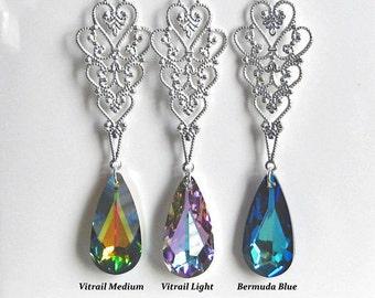 Kaitlyn Bridal Earrings - Bermuda Blue Bridal Jewelry Bridesmaids Gifts Wedding Jewelry Bridesmaids Jewelry