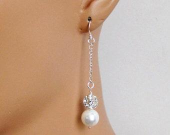 Rhinestone Bridal Earrings, Long Dangle Pearl Drop Wedding Earrings, Bridal Jewelry, Wedding Jewelry, Bridesmaids Jewelry