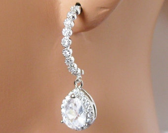 Jewel Half Round Wedding Earrings,  Rhinestone Bridal Earrings, Bridesmaids Earrings, Crystal Earrings