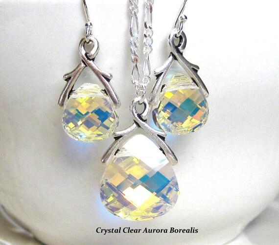 Crystal Pendant Bridal Jewelry Set Bridesmaids Gift Wedding Jewelry Set Bridesmaids Jewelry Set