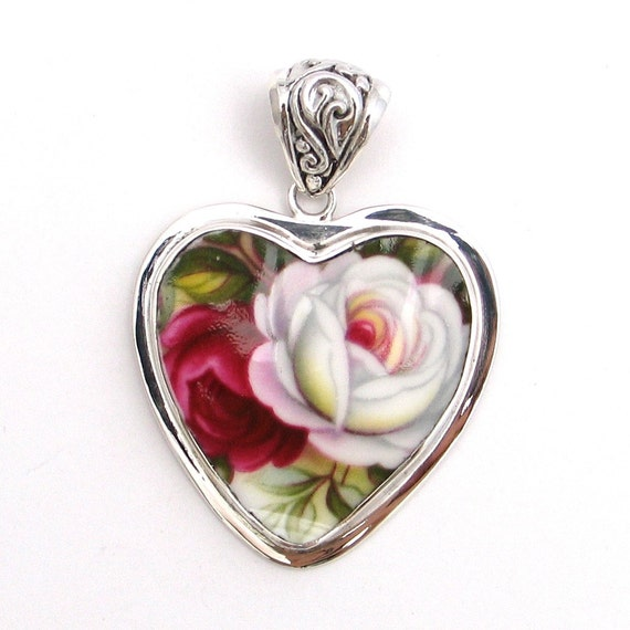 Broken China Jewelry Royal Albert Celebration Pink White Roses Sterling Heart Pendant