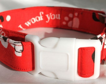 I Woof You - Puppy Love Dog Collar Size XS, S, M, L