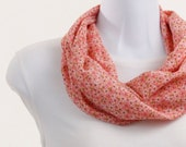 Circle Scarf Apricot, Coral Floral - Soft Crepe Infinity Scarf ~ SK059-S1