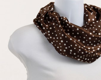 Infinity Scarf in RICH Chocolate Brown and White Polka Dot Short Silky ~ SK065-S1