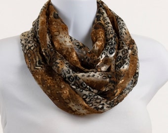 Sheer Leopard Print Infinity Scarf  - Metallic Copper thread ~ SH024-L5