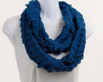 Teal Ruffled Knit Infinity Scarf by neckStyles ~ K012-L1