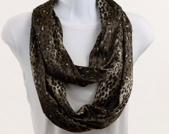 Infinity Scarf -Silky Smooth Leopard Print in Shades of Taupe ~ SK084-L1