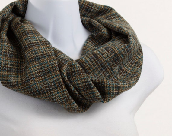 Trendy Woolly Infinity Scarf - Brown, Tan and Light Teal Plaid ~ WL011-S1