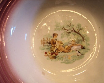 Beautiful Vintage Bowl, Mother and Child, Pink and Cream, Cottage decor