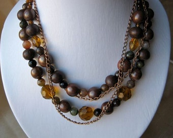 Brown and Amber Necklace & Earrings Set - ADJUSTABLE