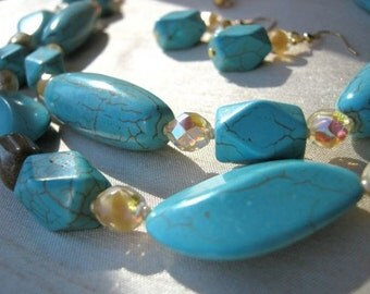 Turquoise and Cream Necklace & Earrings Set - ADJUSTABLE