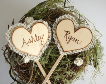Rustic cake toppers, backed with burlap, wood burned names, custom, personalized wedding