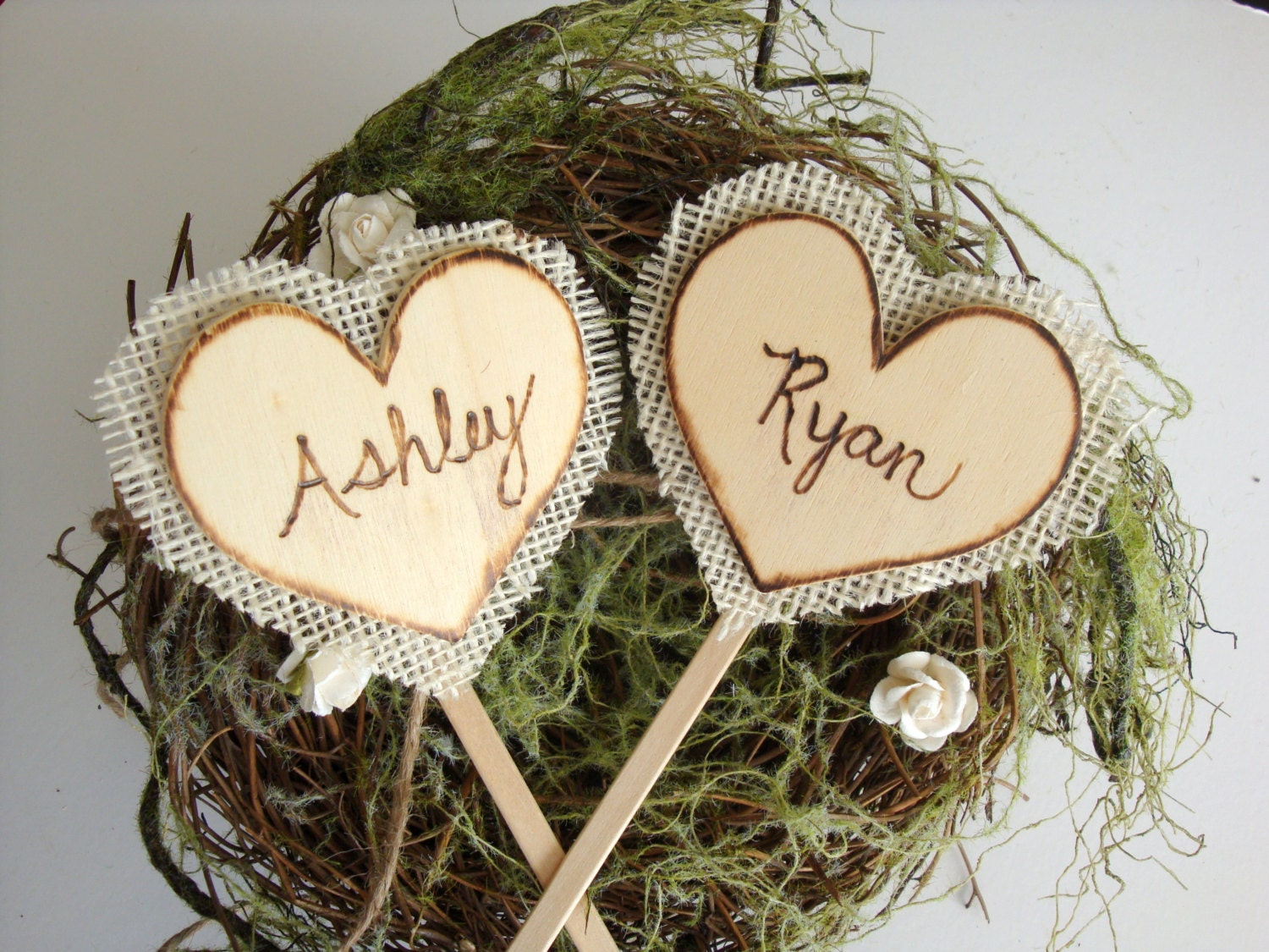 rustic cake toppers backed with burlap rustic wedding cake toppers zoom