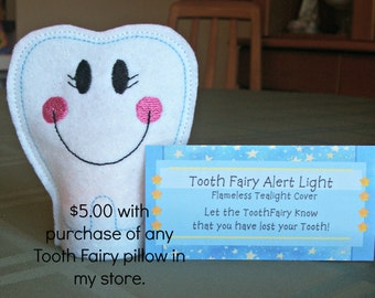Tooth Fairy Pillow Accessory, Tooth Fairy Alert Flameless Tealight comes with & 1 extra battery
