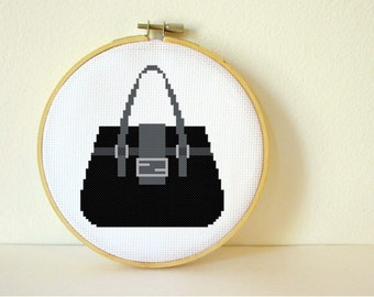 Counted Cross stitch Pattern PDF. Instant download. Purse. Includes easy beginners instructions.