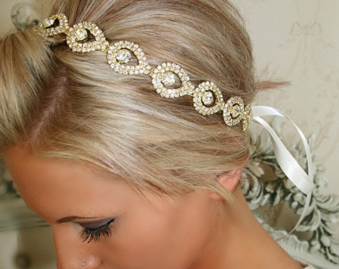 Gold Hairpiece, GOLD Elsie, Wedding Headband, Ribbon, Wedding Headpiece, Gold, Bridal Accessory