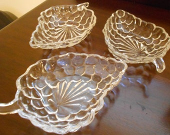 Vintage Glass Grape Serving Dishes - Set of Three