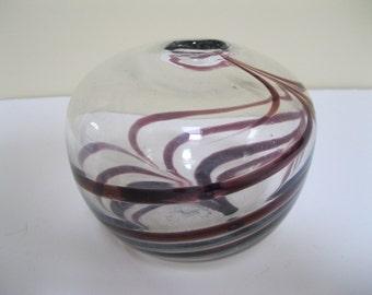 Richard Harkness Purple/Amethyst Swirl Glass Vase Hand Blown Epsom, NH. John Harko, Bruce Cobb Connection Vintage