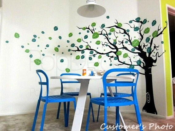 Tree Wall Decal Baby Wall Decal Room Vinyl Decal Children Wall Decal- Flying Leaves Tree(78inch H) -Designed by Pop Decors