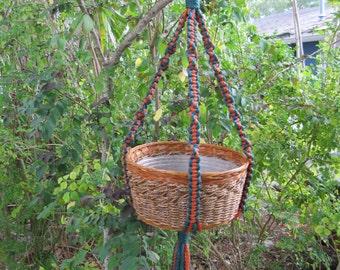 Rust Green 35 Inch No Beads Macrame Plant Hanger