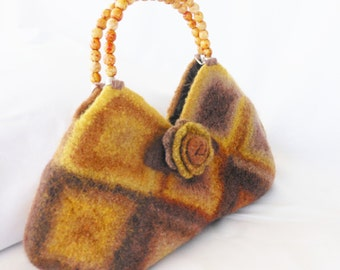 Crochet Granny Square Bag felted wool handbag, Fiber Art purse in Sunflower Yellow, Rust and Brown
