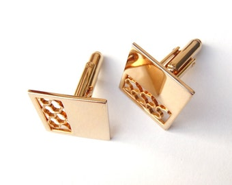 Vintage Gold Tone Cuff Links Squares Cut Out Design Hinged Back Cufflinks Formal Wear Wedding  Groom Suave and Sophisticated Mens Accessory