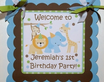 Safari, Jungle, Zoo, Animal Birthday Party Welcome Door sign By The Party Paper Fairy (JUPA-1)