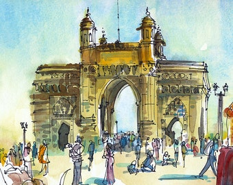 India sketch Gateway of India, Mumbai  8x10 print of a watercolor sketch